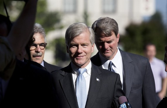 Former Virginia Gov. Bob McDonnell walks into U.S. District Court in Richmond on Monday, July 28, 2014, for the start of his corruption trial.