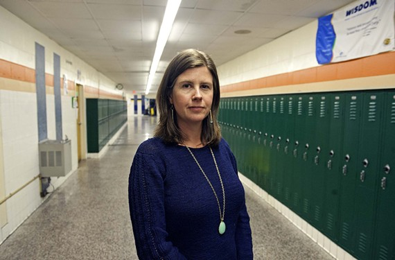 "Fourth District School Board Member Kristen Larson, co-chairwoman of a school district building task force, has visited Thompson twice to tour the damage in its classrooms. ""It's become an emergency situation,"" she says. - SCOTT ELMQUIST"