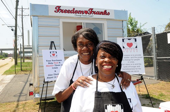 Freedom House, a nonprofit serving the homeless, is closing despite the success of many of its programs, including this hot dog vending business run by shelter residents Yvonne Norman and Wyouka Clay. - SCOTT ELMQUIST