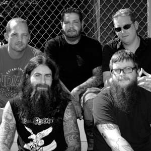 """Freeman is, from left, Joe Banks, Erik Larson, Freeman Martin, Chris Rigo and Chuck McCauley. Photo by Chris Boarts Larson Download a free copy of """"Push and Shove"""" after the interview."""