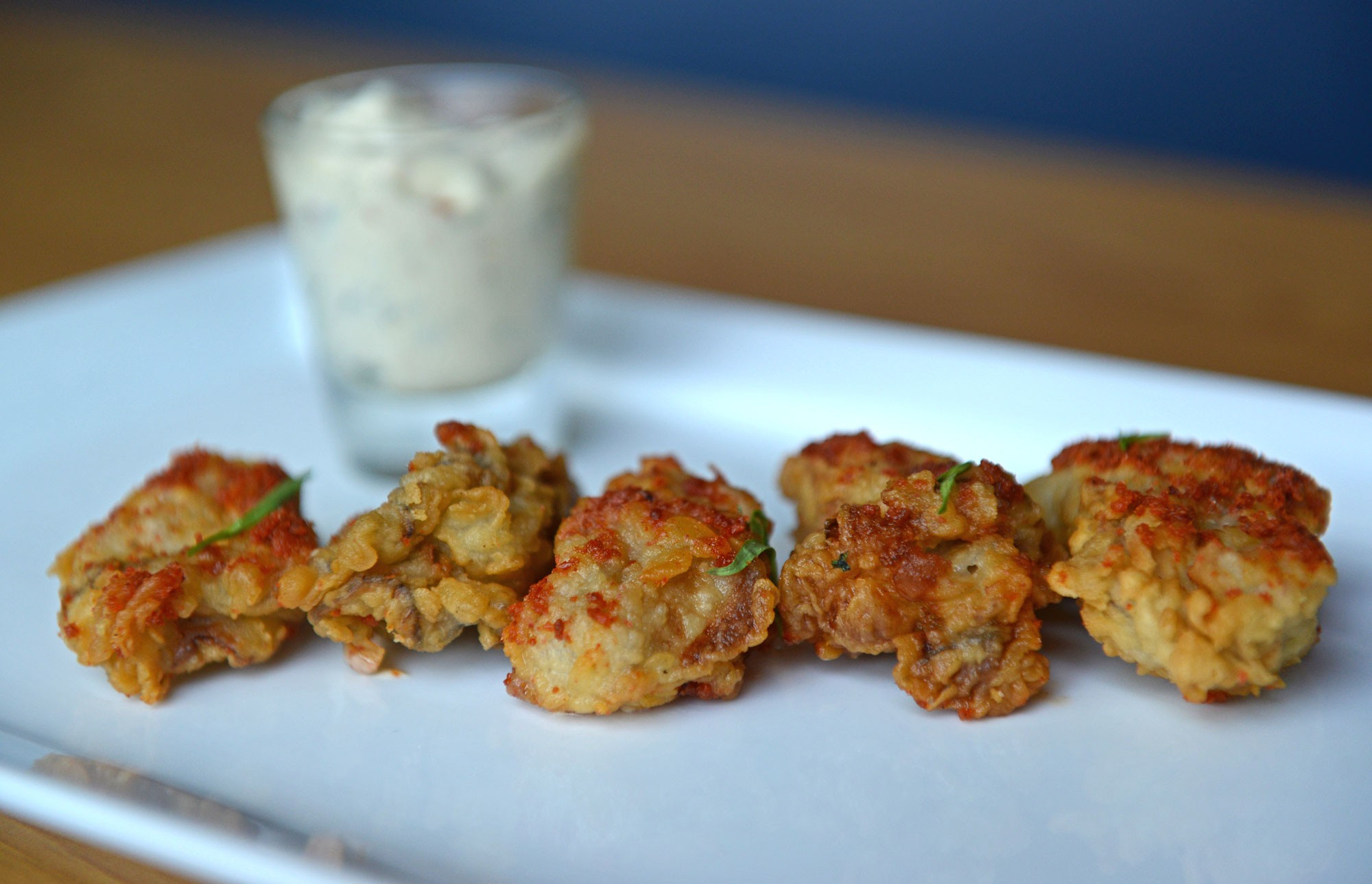 Fried oysters dusted with bacon powder will be featured at this weekend's first  Richmond Bacon Festival at the 17th Street Farmers' Market. They are the creation of chef Mike Pendergrast at the Shockoe Bottom hot spot On the Rox. - SCOTT ELMQUIST