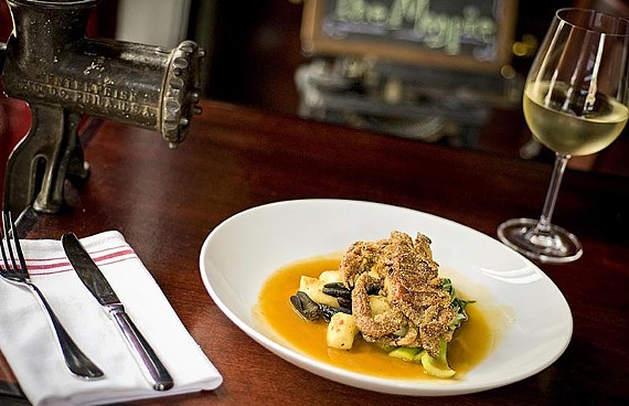 Fried soft shell crab on gnocchi with escargot, bok choy and tomato-saffron broth is one of The Magpie's fish of the day specials. - ASH DANIEL