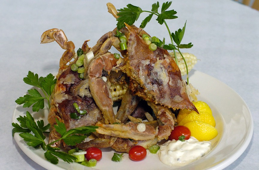 Fried soft shell crabs are seasonal specials at the Coastal Grill at Virginia Beach. - GARY C. KNAPP