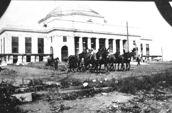 From 1917 to 1919, as the Broad Street Station, now the Science Museum of Virginia, was being built on West Broad Street, Stilson documented the progress. Shown here are mule-drawn carts used in landscaping of the grounds. - COPYRIGHT RICHMOND IN SIGHT