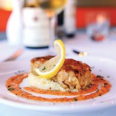 From a menu that changes weekly, Amour Wine Bistro in Carytown recently offered seared crab cakes over smoked cheddar grits with red pepper remoulade, paired with a Paul Pernot 2008 Puligny-Montrachet.