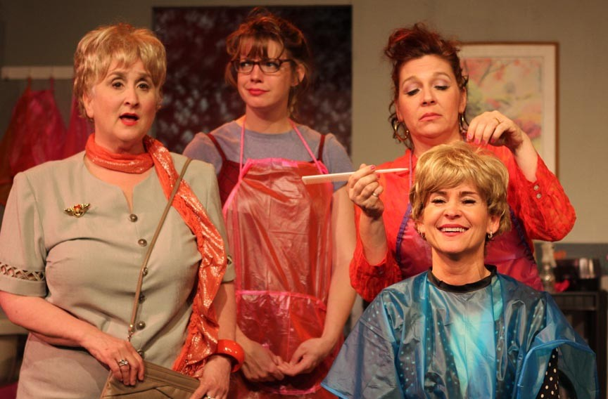 From left, Jacqueline Jones, Sarah Roquemore, Carolyn Rose Hayes and Crystal Oakley brush and tease in Sycamore Rouge's production of Robert Harling's crowd pleasing play. - KEITH SAINE