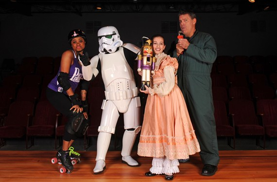 "From left to right: Lucifer Ball, played by Tameka Peters in River City Rollergirls' ""Season's Beatings""; Storm Trooper, played by Stoagie Schwank in the Dominion Christmas Parade; Clara played by Natalie St. John in Richmond Ballet's ""The Nutcracker""; Josh, played by Jody Ashworth in Hanover Tavern's ""A Lug Nuts Christmas."""