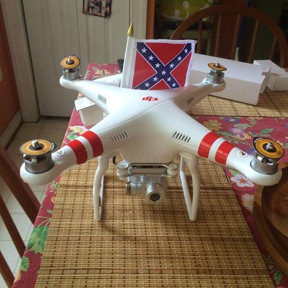"From the Virginia Flaggers' Facebook album titled ""Confederate Drone - Test Run."""