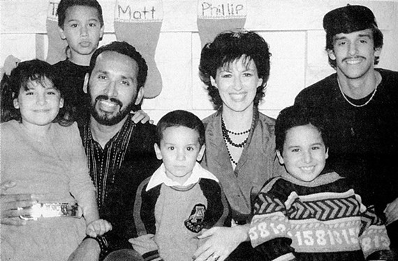Geronimo Aguilar at age 19, far right, with his father, Phil Aguilar, his stepmother, Sandra, and their four children.