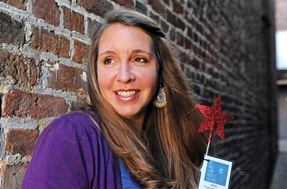 Good deeds advocate Patience Salgado hid 200 magic wands all over the city, including one not so hidden outside the Boathouse Restaurant at Rocketts Landing (below). - SCOTT ELMQUIST