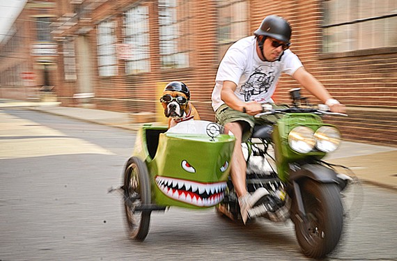 Gordon Smith and his dog Maybellene race through Richmond's streets.