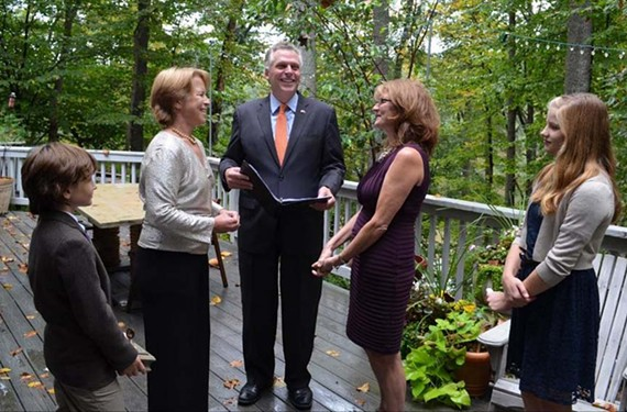 Gov. Terry McAuliffe, who officiated the marriage of Mary and Katherine Bradley in the fall, has applied to become a civil celebrant to preside over more marriages.