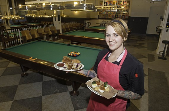 Greenleaf's chef Hannah Pollack offers up her Magic Kingdom monte cristo and tomato and bacon chutney deviled eggs topped with fried chicken skin.