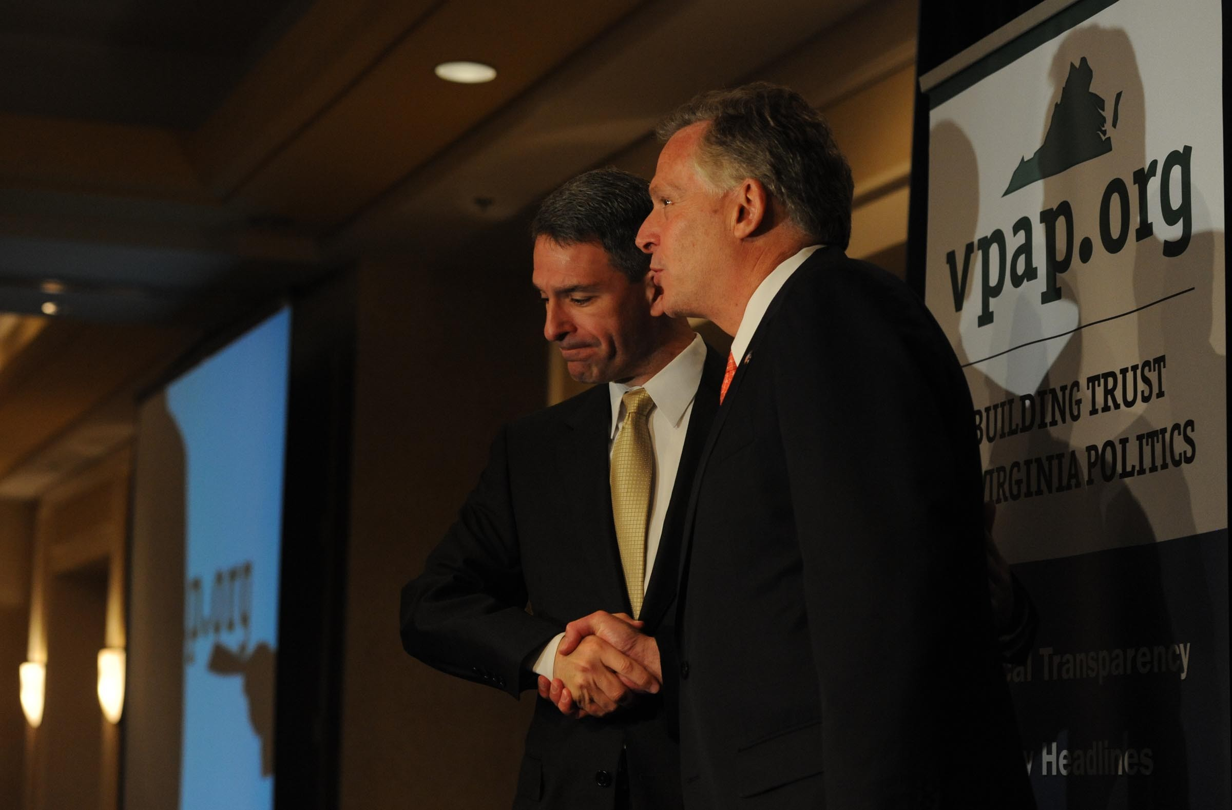 Gubernatorial candidates Republican Ken Cuccinelli, left, and Democrat Terry McAuliffe at a May forum. Voters have expressed their dislike of both candidates. - SCOTT ELMQUIST