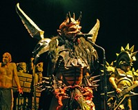 Gwar's David Brockie reigns in full costume as Oderus Urungus during the band's March 16 show at the National.