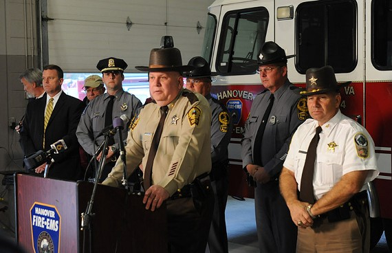 Hanover Sheriff David R. Hines at a press conference to announce Robert Wood Jr. return shortly before 4 p.m. Friday. - SCOTT ELMQUIST