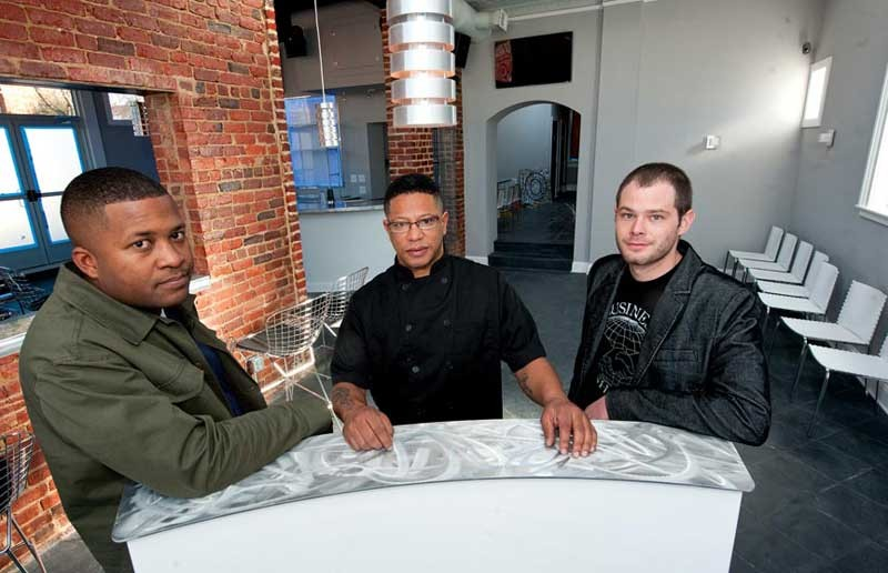 Harold Lewis, chef Todd Butler and Adam Bell introduce their new Fan district restaurant S@mple this week. - SCOTT ELMQUIST
