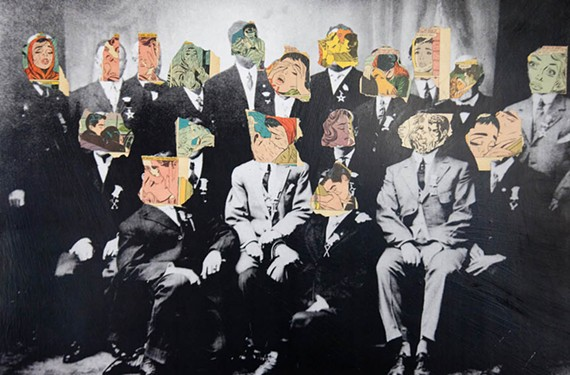 """""""Headshot, Group II"""" is one of the collages by artist Barrett Gordon that displays his fascination with altering antique photos of yesteryear."""