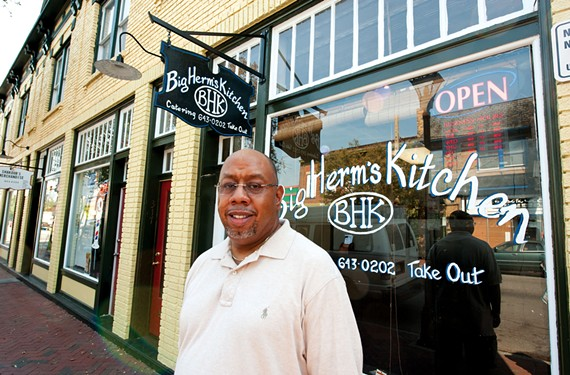 "Herman Baskerville says his new take-out spot with delivery downtown ""gets you in and out with a hot meal in 15 minutes tops,"" with lightly-breaded seafood, sandwiches and corn bread the big sellers so far. - SCOTT ELMQUIST"