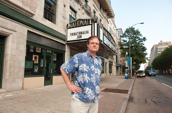 He's coming to take you away: Gregg Kimball, shown in front of the the National, leads WRIR's new bus tour of oft-forgotten Richmond sounds. - SCOTT ELMQUIST