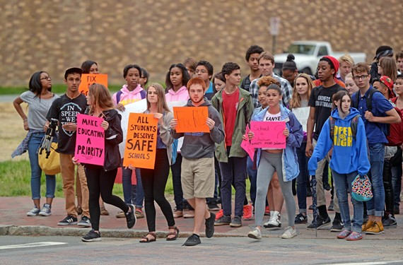 High school students walked out of class in April and marched to City Hall, where they protested for more education funding.