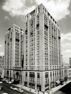 Hotel John Marshall, shown in 1957, has anchored the intersection of North Fifth and East Franklin streets — downtown's highest point geographically — since its completion at the start of the Great Depression in 1929. - DEMENTI STUDIO