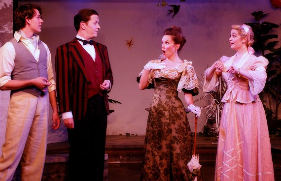 """Ian Stearns as Algernon Moncrief, Thomas Cunningham as Jack Worthing, Audra Honaker as Gwendolen Fairfax and Aly Wepplo as Cecily Cardew bring to life Oscar Wilde's classic """"trivial comedy for serious people."""" - VINNIE GONZALES"""