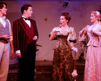 """Ian Stearns as Algernon Moncrief, Thomas Cunningham as Jack Worthing, Audra Honaker as Gwendolen Fairfax and Aly Wepplo as Cecily Cardew bring to life Oscar Wilde's classic """"trivial comedy for serious people."""""""