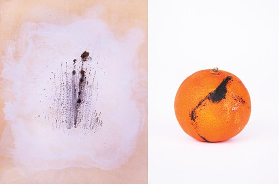 """In """"Blackline 7,"""" Wachob tattoos her abstract design on leather; in """"Scratch 1,"""" she inks an orange's rind."""