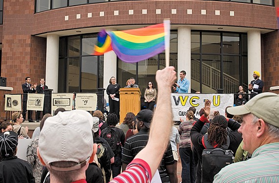 In March 2010,  Cuccinelli issued a legal opinion invalidating hiring policies that prohibit discrimination based on sexual orientation at state universities. Students at Virginia Commonwealth University protested the decision. - SCOTT ELMQUIST