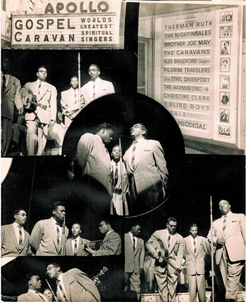 In the '50s, the Harmonizing Four (with Lonnie Liston Smith Sr., pictured in glasses with guitar) performed many times at the Apollo Theater in Harlem. A decade later, Lonnie's son Ray would play the same legendary venue as a member of the doo-wop group, the Jarmels. - COURTESY OF THE SMITH FAMILY