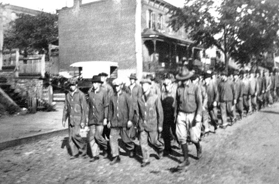 In this undated photo Stilson caught African-American recruits, probably marching along a Carver street en route to basic training circa late-1917 or early 1918. - COPYRIGHT RICHMOND IN SIGHT