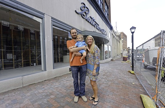Isaac and Noelle Ward (with son Alcon) are renovating the old Buttersworth's Building, an art center. - SCOTT ELMQUIST