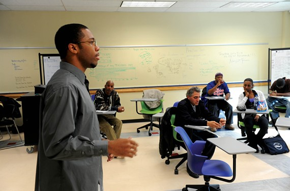 """Isaiah Murphy is one of 10 students in a work skills class at the city's new Center for Workforce Innovation downtown. """"If you fight for something you want,"""" he says, """"it's not hard to obtain it."""""""