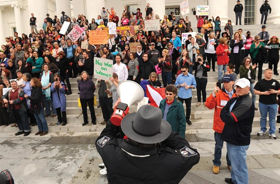 It was the defining moment in the women's rights movement of 2012: On March 3, dozens of protesters descended on the state Capitol steps, leading to a confrontation with police that made national headlines. - SCOTT ELMQUIST
