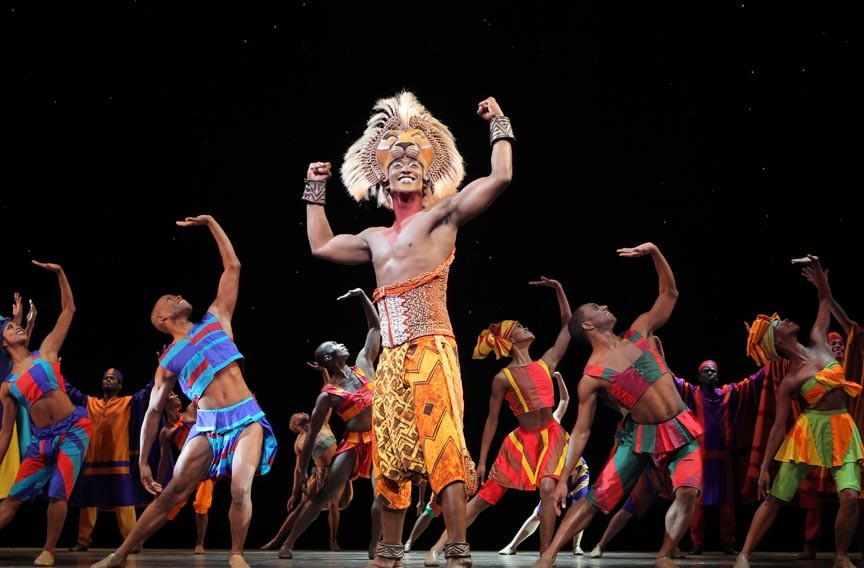 "It's good to be the king: Jelani Remy plays the adult Simba in the national touring production of ""The Lion King."" - JOAN MARCUS"