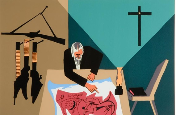 """Jacob Lawrence's """"The Legend of John Brown, No. 13,"""" from 1977, one of 22 Lawrence prints in the Virginia Museum of Fine Arts that depicts the life and fiery end of a militant abolitionist."""