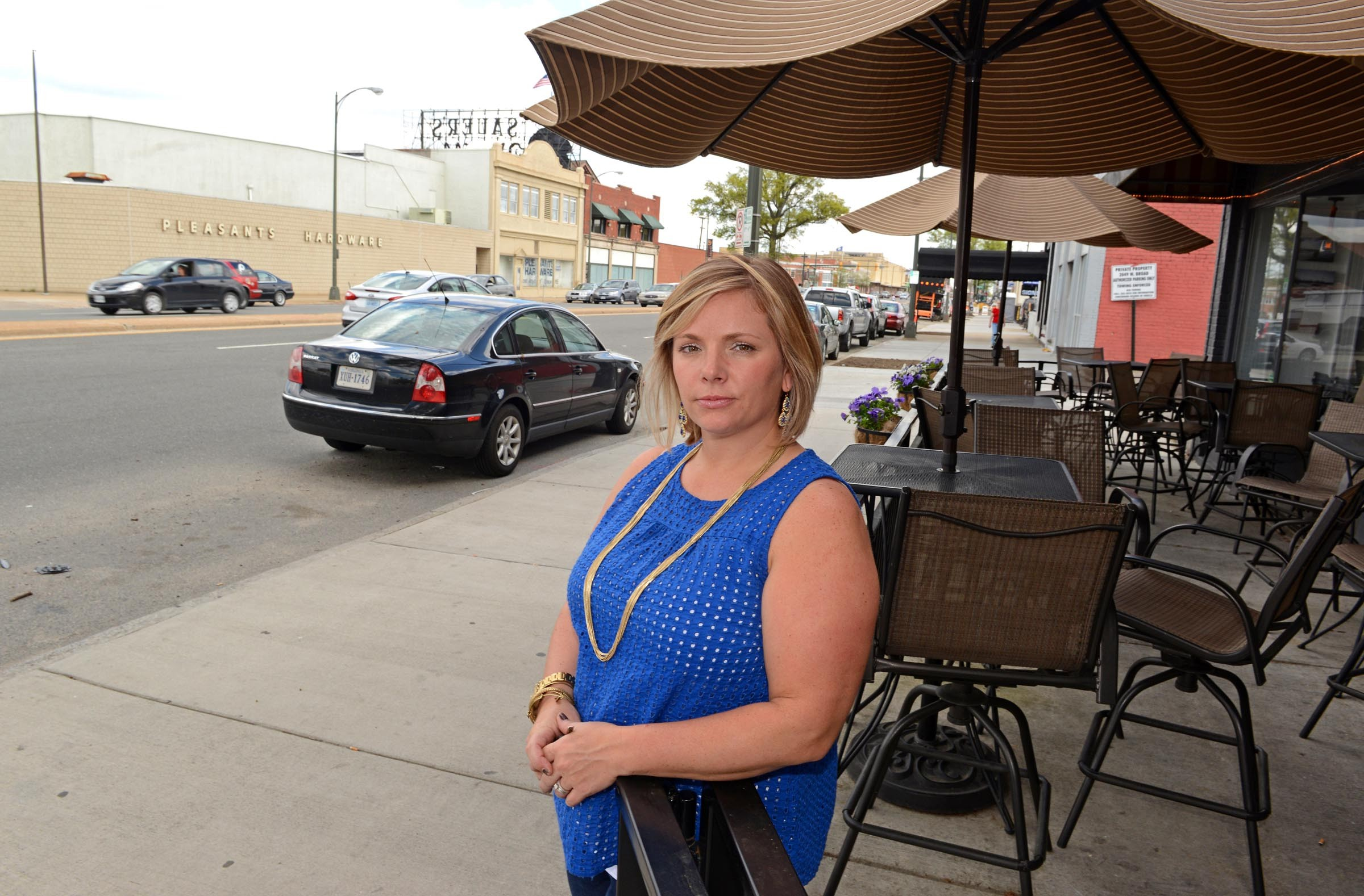 Jamie Bohdan, who owns Savory Grain on Broad Street across from Pleasants Hardware, is among a group of small-business owners opposed to the plan, largely because it eliminates 250 of 700 on-street parking spaces. - SCOTT ELMQUIST