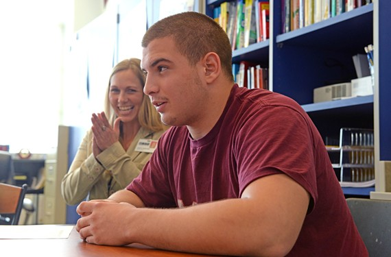 Jared Bartell, a senior at Lynchburg's E.C. Glass High School, tells Future Center director Heidi Vande Hoef and Beacon of Hope program leaders that he's been admitted to Virginia Tech. Richmond Mayor Dwight Jones wants to adapt the program and its privately funded scholarships as a model for the city. - SCOTT ELMQUIST