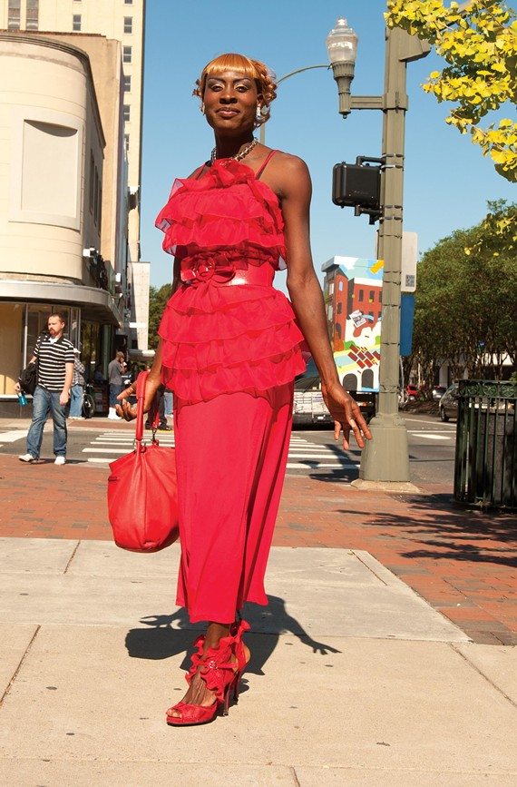 Jasmine poses on the corner of Fourth and Broad streets. - SCOTT ELMQUIST