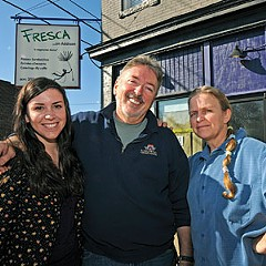 Jenna Sneed, her chef-father Jimmy, and chef Jannequin Bennett are experimenting with vegetarian menu items for Fresca on Addison, about to open in a corner spot on Cary St.