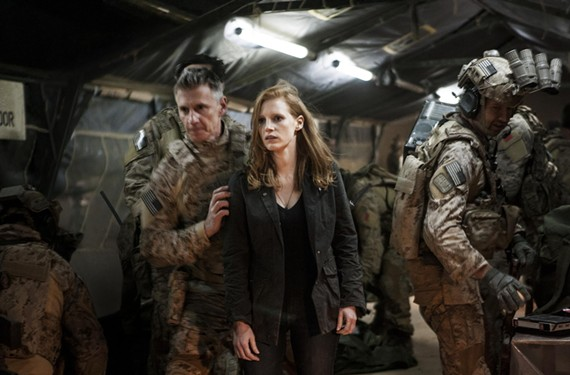 "Jessica Chastain and Christopher Stanley appear in ""Zero Dark Thirty,"" a thriller which recently prompted Senate inquiry into what information CIA officials gave the filmmakers about interrogation used in the hunt for Osama bin Laden. - COLUMBIA PICTURES"