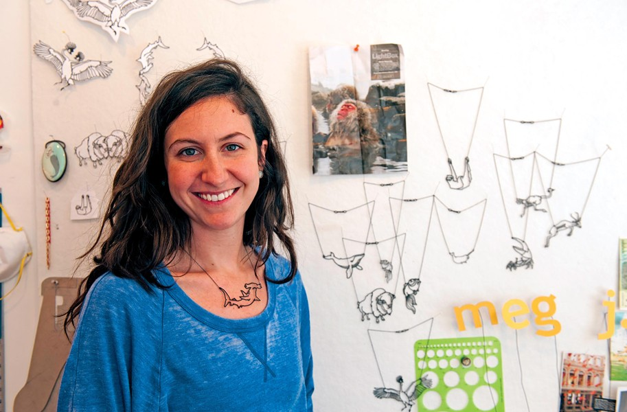 """Jewelry designer Meg Roberts is inspired by sloths, sharks and """"other extremes from nature,"""" she says. - SCOTT ELMQUIST"""