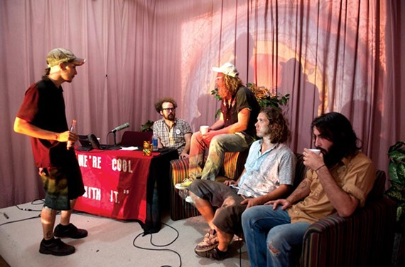 """J.K. Kassalow looks on as """"86 Reality"""" co-host Mike Raftery interviews the Milk stains: John Sizemore, Raphael Katchinoff and Gabe Lopez. - SCOTT ELMQUIST"""