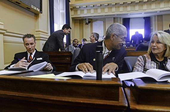 Joe Morrissey at his desk on the floor of the House of Delegates. - SCOTT ELMQUIST