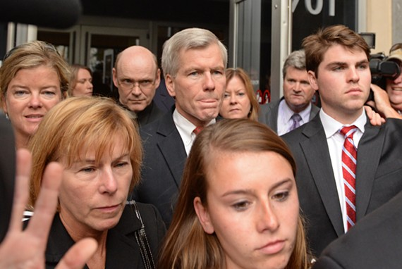 Just found guilty on corruption charges, former Gov. Bob McDonnell leaves the courthouse Thursday surrounded by family his family.