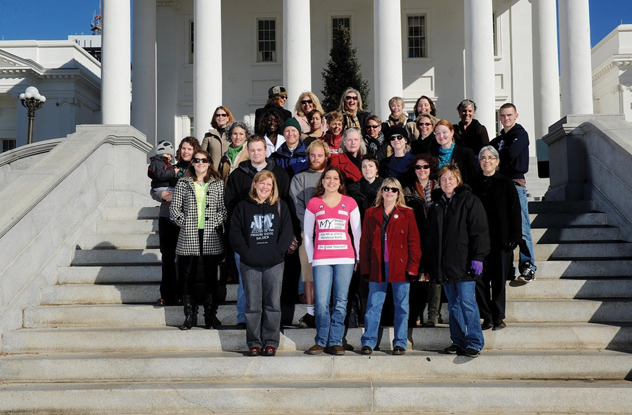 Just some of the women and men involved in the 2012 movement. First row, from left: Rhonda Hening, Molly Vick, Leslie Rubio and Sue Martin. Second row: Julia Nims, Will Carino, Gregory Gunter, Whitney Whiting, Catherine Poole and Gail Christie. Third row: Kate Noon (with Dylan), Beth Kimbriel, Glen Besa, Sally Mullikin, Sarah Bartell and Shannon Fisher. Fourth row: Liz Musselman, Vanessa Coleman, Scarlett Diaz, Margaret Doyle, Lori Krenik and Barb Niedermaier. Fifth row: Leslie Lytle, Candy Graham, Kathy Carle, Yvonne Royster, Tara Casey, Tricia Dunlap and Joseph Radigan. - SCOTT ELMQUIST