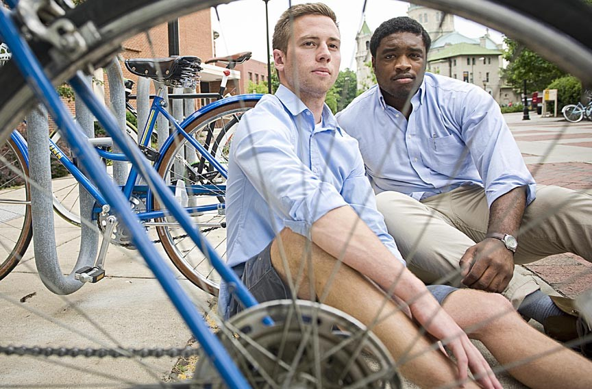 Justin Kauszler and Austin Callwood are two of the minds behind a new system for locking bikes in public spaces.