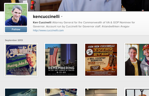 Ken Cuccinelli's official Instagram profile.