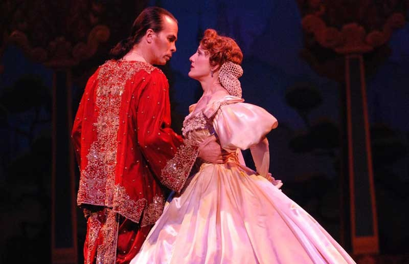 "Kevin Gray and Lisa Vroman share a teachable moment in Lyric Opera Virginia's adequate production of ""The King and I,"" slated for the Landmark. - ANNE M. PETERSON"